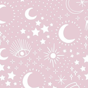 Mystic Universe party sun moon phase and stars sweet dreams blush pink mauve white LARGE