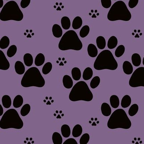 Paws minimalist boho pet paws foot print lovers dogs and cats purple black