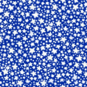 Glowing Silver Stars - on bright royal blue