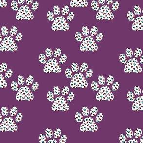 Little boho leopard panther spots animal skin dog paws trend design purple girls