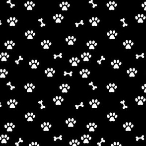 Little paws and bones minimalist boho pet paws foot print lovers dogs and cats monochrome black and white SMALL
