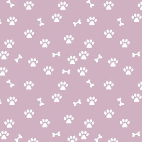 Little paws and bones minimalist boho pet paws foot print lovers dogs and cats purple lilac white girls SMALL