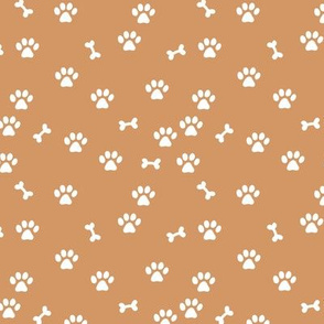 Little paws and bones minimalist boho pet paws foot print lovers dogs and cats cinnamon sienna burnt orange white SMALL