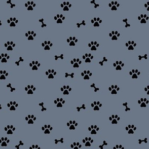 Little paws and bones minimalist boho pet paws foot print lovers dogs and cats stone gray black SMALL