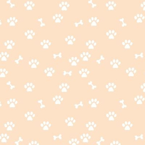 Little paws and bones minimalist boho pet paws foot print lovers dogs and cats butter yellow white SMALL