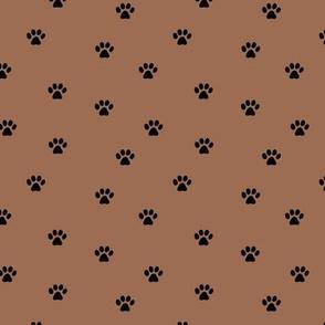 The minimalist paws animal foot print boho scandinavian style rust chocolate brown black