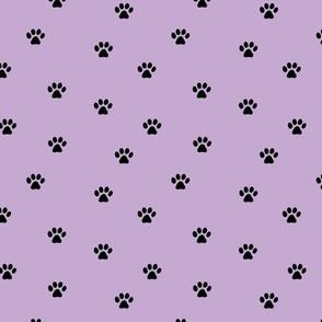 The minimalist paws animal foot print boho scandinavian style bright lilac purple black