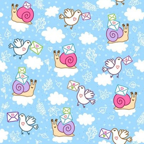 Cute Snail and Pigeon Mail - blue