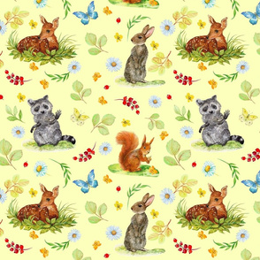 children's print with forest animals