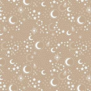 Mystic Universe party sun moon phase and stars sweet dreams night latte beige ginger