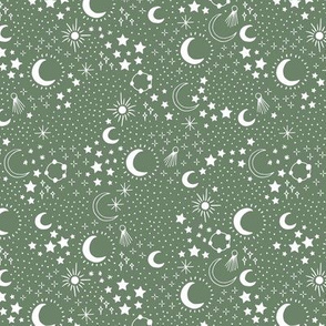 Mystic Universe party sun moon phase and stars sweet dreams night green white