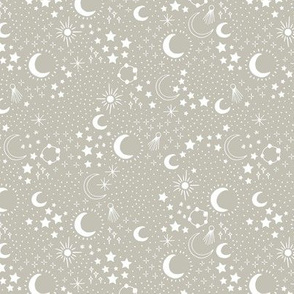 Mystic Universe party sun moon phase and stars sweet dreams night pastel green mist gray