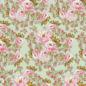 chintzy pink roses on mint V6