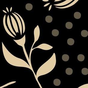 Flower Bud & Dots - Black / Beige - Xlarge