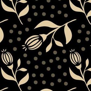 Flower Bud & Dots - Black / Beige - La