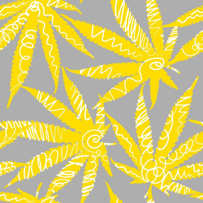 Cannabis leaves with scribble