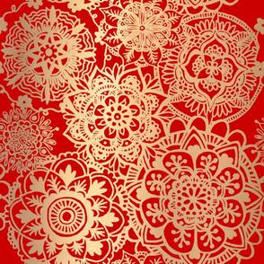 Red and Gold Mandala Pattern