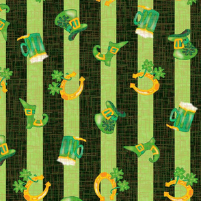 Irish Spring Parade  – St Patrick Day Colored Stripe with Traditional Saint Patrick Symbols of Ireland -- Light Green on Dark -- Shamrocks, Clover,  Horseshoes, Leprechaun Hats, Beer Steins, Boots, Good Luck Charms, Pot of Gold -- Large Scale Fat Quarter