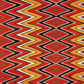 Southwest Folk Art - Zig Zag Red Orange Ivory Black
