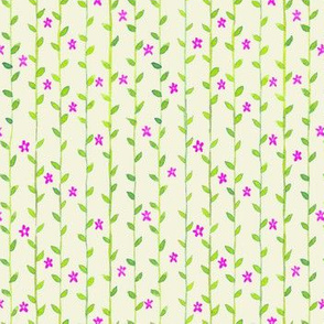 Floral Vines Pattern - Green and Hot Pink 2