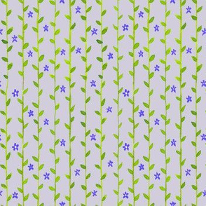 Floral Vines Pattern - Indigo and Green 2