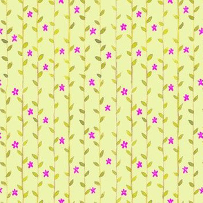 Floral Vines Pattern - Magenta and Yellow Green 2