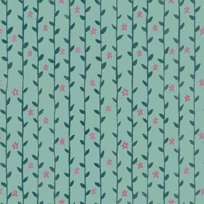 Floral Vines Pattern - Teal and Hot Pink 2