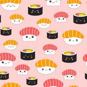 (XS) Kawaii Sushi Cuties - X-Small on Pink - Salmon Nigiri, Tuna Nigiri, Maki Roll - Cute & Fun Japanese Food