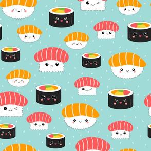 (M) Kawaii Sushi Cuties - Medium on Blue - Salmon Nigiri, Tuna Nigiri, Maki Roll - Cute & Fun Japanese Food