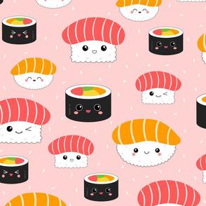 (L) Kawaii Sushi Cuties - Large on Pink - Salmon Nigiri, Tuna Nigiri, Maki Roll - Cute & Fun Japanese Food