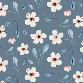blush floral in vintage slate