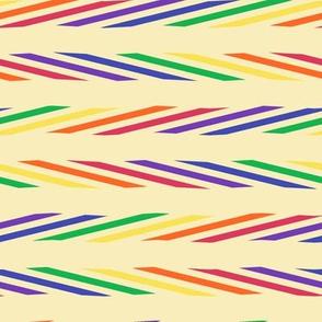 Medium - Sliced Rainbow Ribbons on Creamy Manila Ground