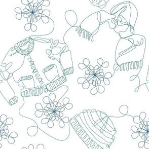 Winter Wardrobe Line Drawing