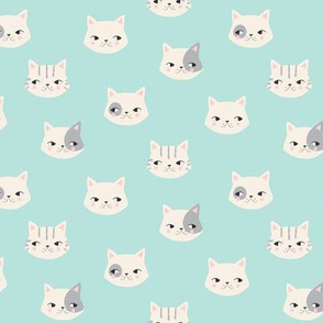 kitty cats on aqua // small scale
