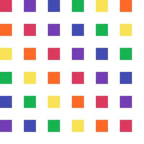 Medium - Color Blocks in a Rainbow of  Colors on White