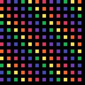 Medium -  Color Blocks of Rainbow Colors on Black