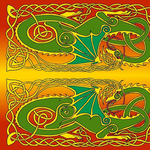 Dragon 6 banner in green and reds