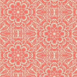 Net Lace Flowers of Magnolia Cream on Coral