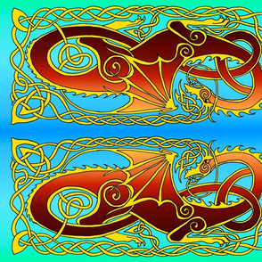 Dragon 6 banner in reds and blue to green