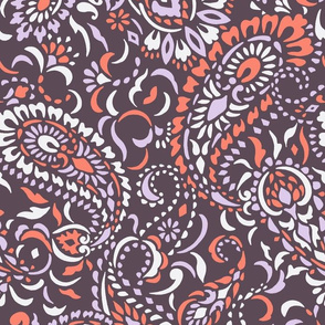 Large Paisley Africa - aubergine lilac scarlet