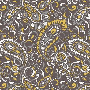 large Paisley Africa - greys mustard