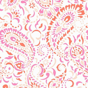 Large Paisley Africa - pinks red