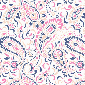 large Paisley Africa - rose pink blue