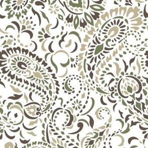 Large Paisley Africa - white camouflage