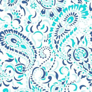 large Paisley Africa white indigo turquoise