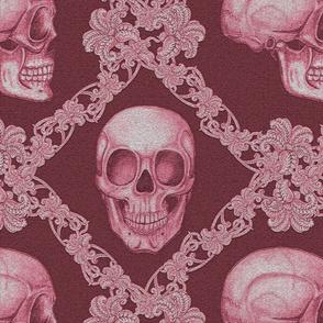Skull damask red 16x16