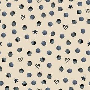 heart stars & dots on natural mini