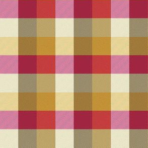 """simple 1""""madras - retro kitchen red, cream, gold and brown"""