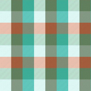 """simple 1""""madras - surf teal, bronze and coral"""