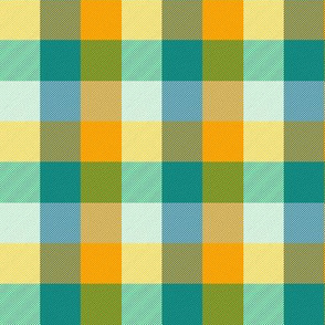 """simple 1""""madras - circus gold and teal"""